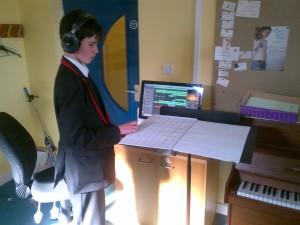 Josh recording the opening phrases