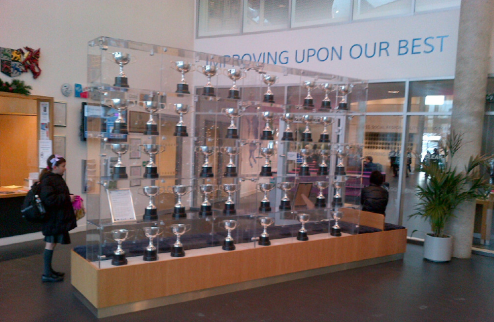 Foyer installation at Passmores representing the school's ethos: the journey rather than the arrival.