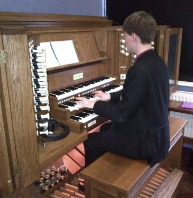 Ben plays the organ for our Friday hymns.
