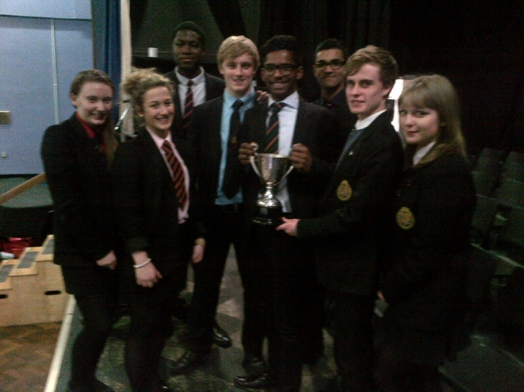 The leaders of Strutt House celebrate after winning the prestigious House Cup.