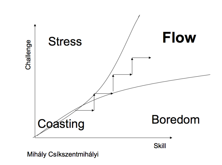 Flow: Where challenge and skill levels are high.