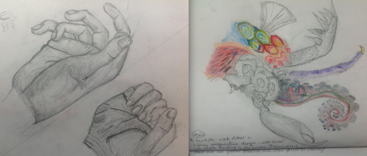 Year 8 drawing skills. The student then developed the idea further, mixing colour with pencil.