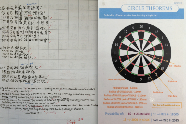 Chinese characters and a superb piece of work on probability in Maths.