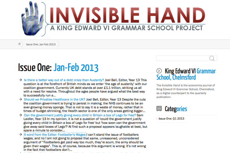 The Invisible Hand; showing the possibilities.