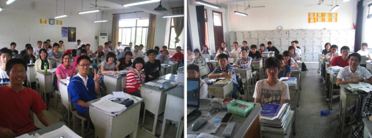 Two typical classes at Wuxi No 1. 8x6 rows or 7 x 7.