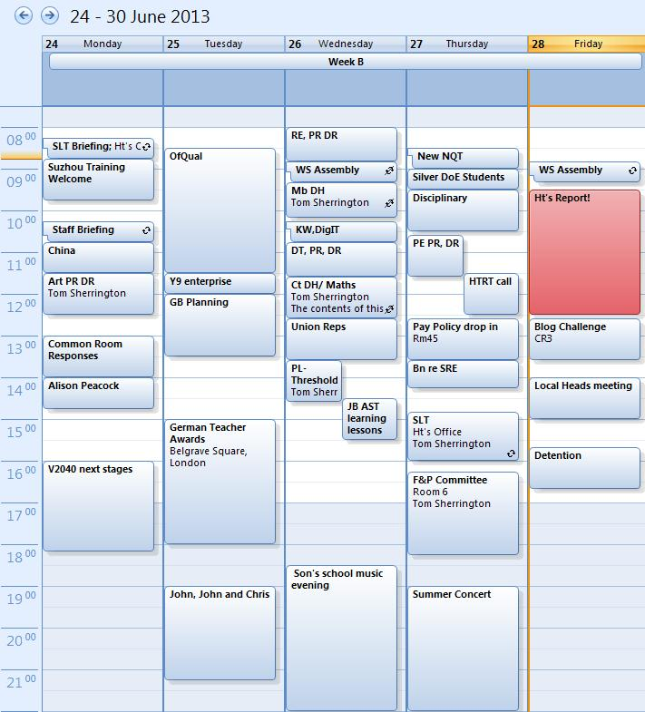 My Outlook Calendar for this week.