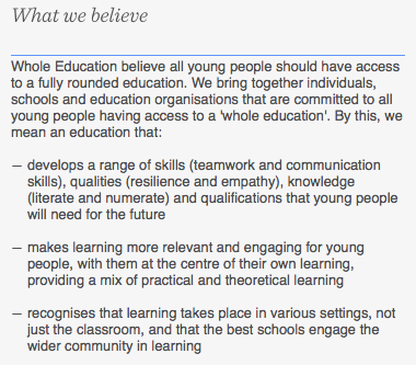 The Whole Education organisation's values