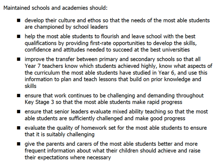 The key OfSTED recommendations
