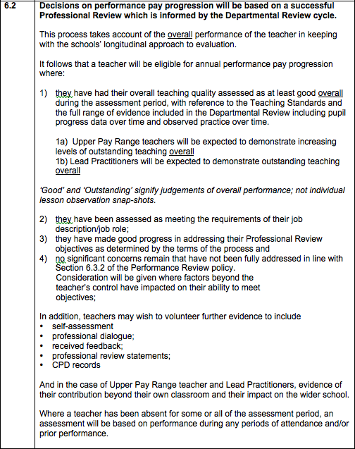 The draft pay policy spells out our approach to teacher evaluation