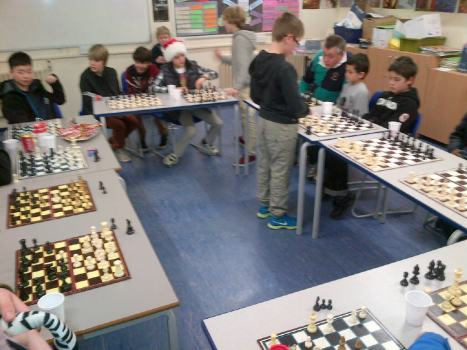 Y7 Chess Wizard  Daniel in action playing 10 simultaneous matches - and winning.