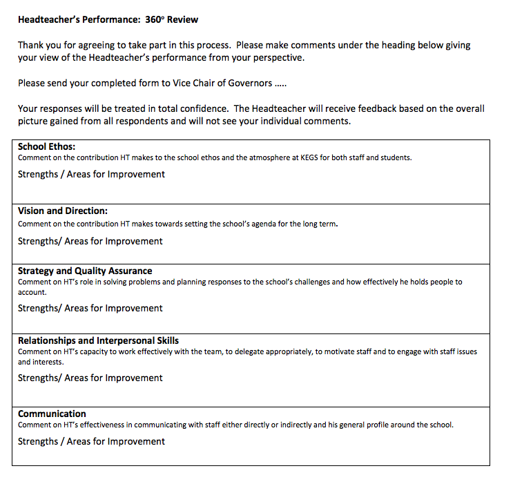 My 360 Review Template based on the five Great Leadership themes