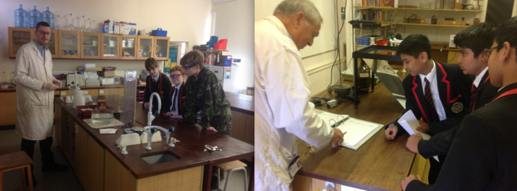 Students learning from technicians: How to do a chemistry demo and ordering equipment for a lesson.