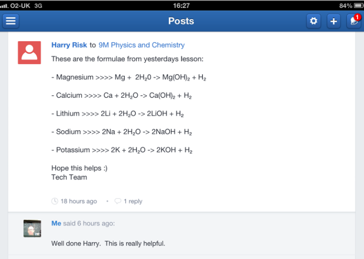 Chemical equations shared on Edmodo after an early chemistry lesson