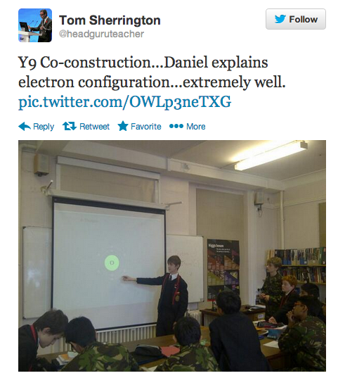The electron configuration lesson as reported on twitter!