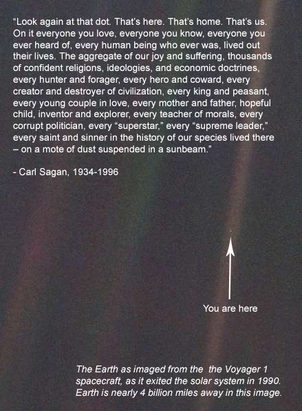 The Carl Sagan view of Earth; humanity alone on a lonely planet.