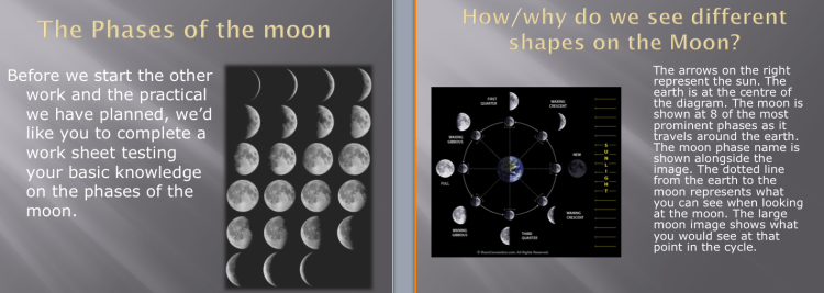 Moon phases in the powerpoint slides for the lesson