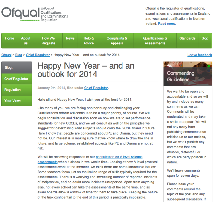 New Blog on the OfQual Site