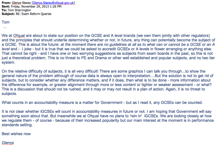 Email from Glenys Stacey