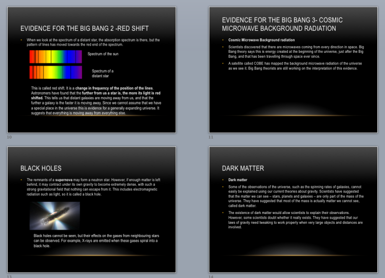 Powerpoint on red shift, dark matter, Big Bang...