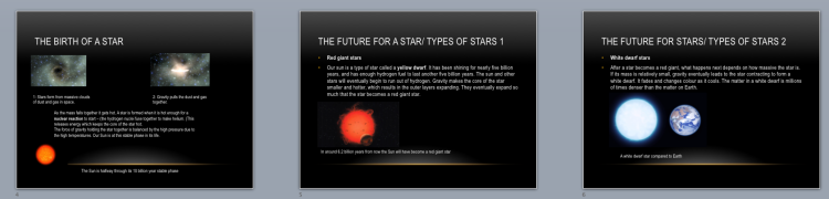 Student powerpoint on the life cycle of stars.