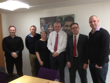 Left to right: @TomBennett71; @LearningSpy; @ClerkToGovernor; Mike Cladingbowl; @headguruteacher & @TeacherToolkit (18.2.14)
