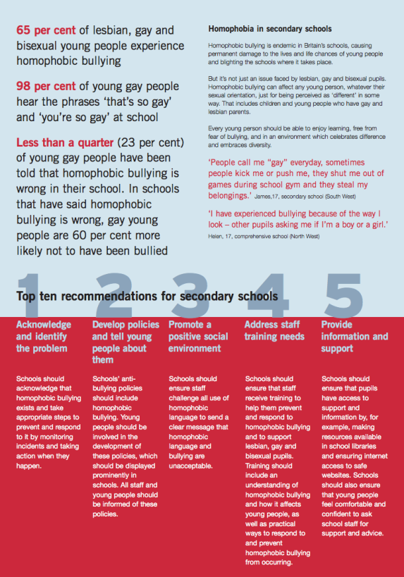 A Stonewall leaflet. The five step plan is clear and simple.