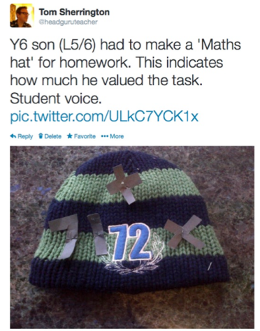 My tweet about the Maths Hat homework.