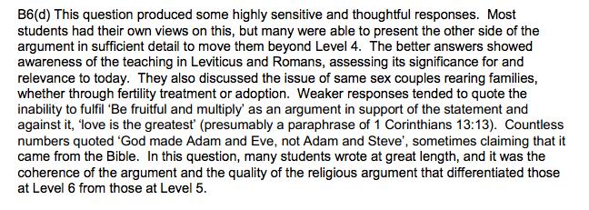 Examiner's Report for Qu 6d