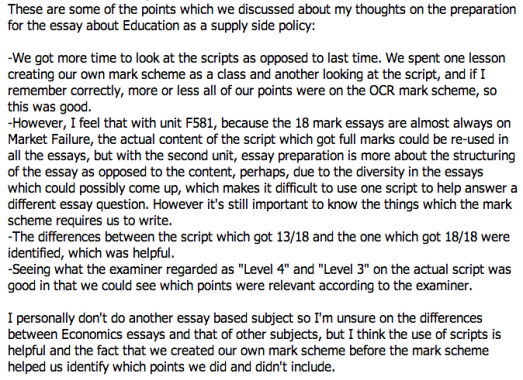 Feedback from one of the students involved in the Economics Lesson Study
