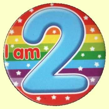 2nd Birthday Badge Blue Stripes