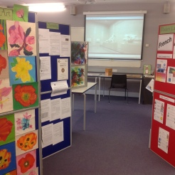 The display includes work in Art and Chemistry