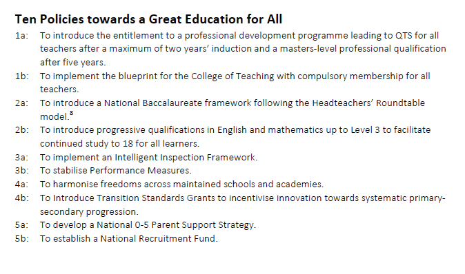 The Heads Roundtable Education Manifesto Proposals
