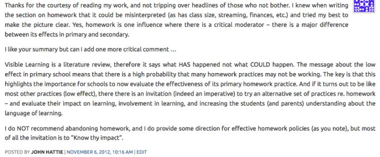 John Hattie's comment.