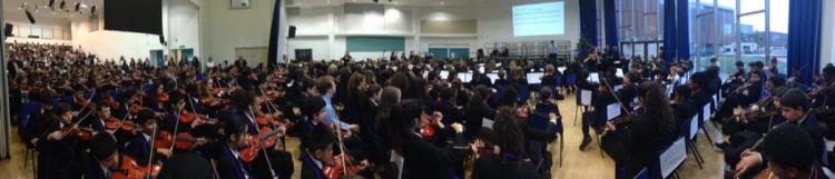 Panorama of our full KS3 performance. 600 musicians in one place.