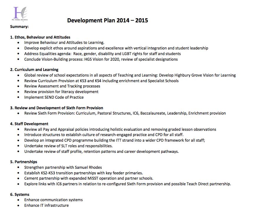 our school development plan 2014