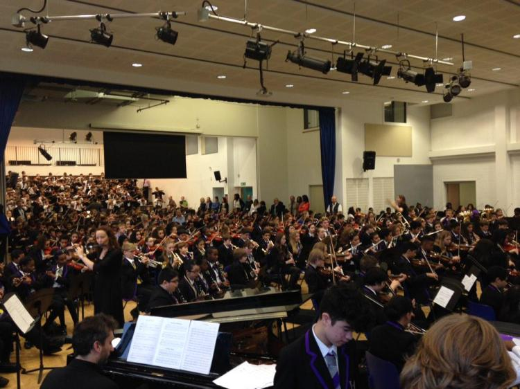 600 KS3 students performing together  - it's quite something!