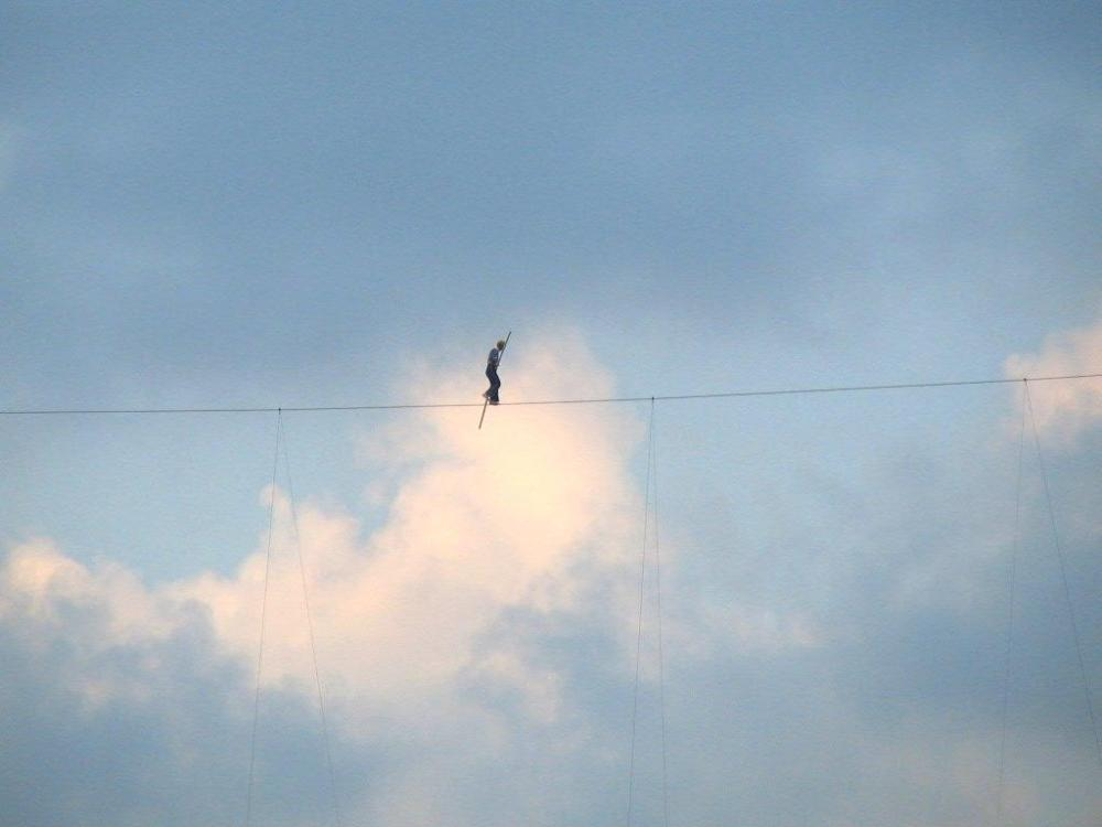 Walking the tightrope.