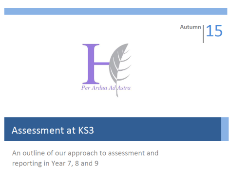 Our Emerging KS3 Assessment Framework.