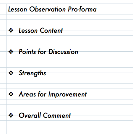 My Observation Checklist. | teacherhead