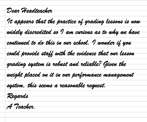The delusional voodoo of grading lessons has got to stop. (1/4)