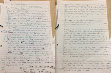 Draft and redraft within a writing unit