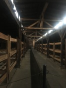 A replica of the bunks in the Birkenau barracks. Up to 700 people were crammed in; the brick structure provided heat; winter temperatures could fall to 20 below zero.
