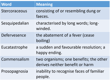 table of words