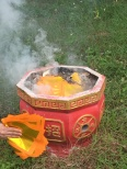 The Chinese ritual - burning ceremonial money