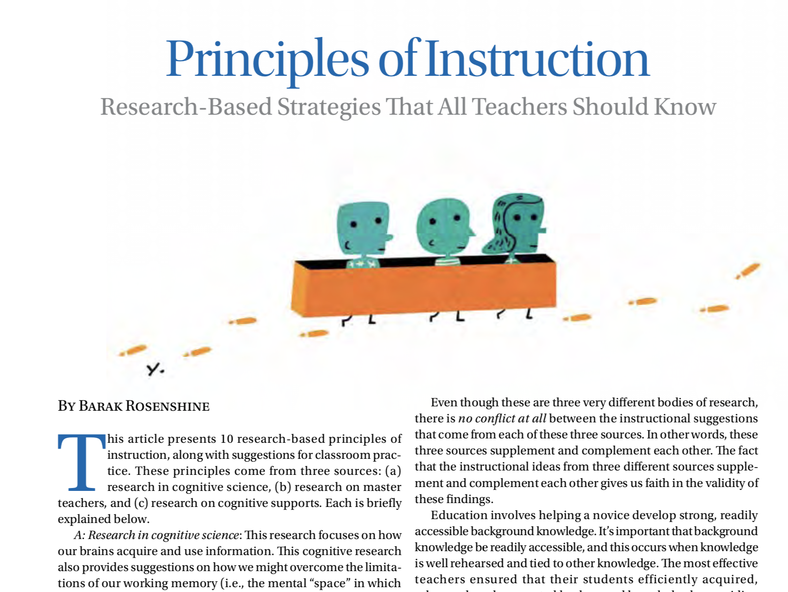 Exploring Barak Rosenshine's seminal Principles of Instruction: Why